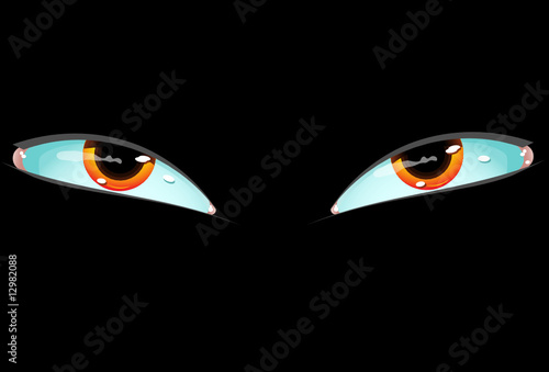 Eyes on a black background