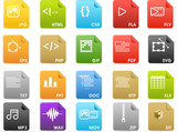 File extensions and Document icons - Solid color poster