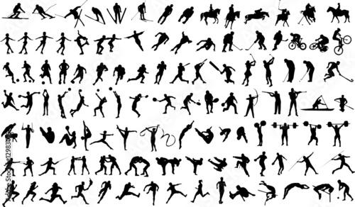 Zdjęcia na płótnie, fototapety, obrazy : Set of vector silhouettes of people in sports