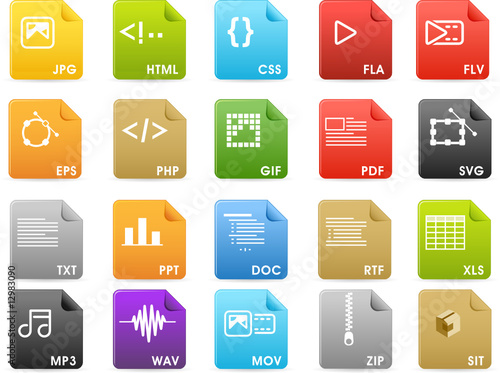 File extensions and Document icons - Solid color