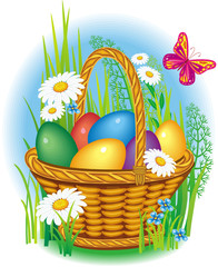 Сolorful Easter Eggs in wicker basket