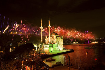 Fireworks Ortakoy Mosque and Bosphorus Bridge, Istanbul