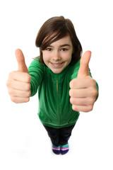 Girl showing OK sign isolated on white background
