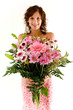 Frau mit Blumenstrauss