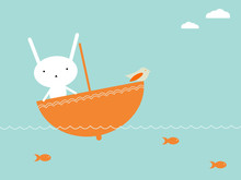 Cute bunny sailing over the sea in umbrella