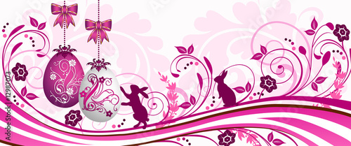 Pink Easter greetings card (banner)