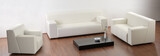 A modern minimalist living-room with white furniture poster
