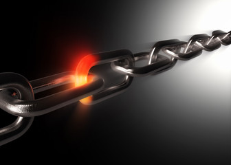 Iron chain with fiery hot link