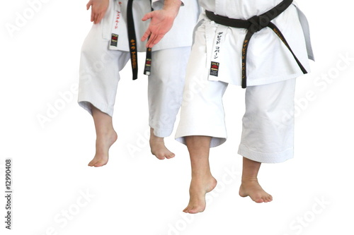 People  with black belt doing karate