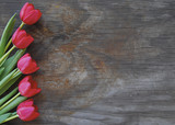 pretty tulips on an old wood background - 12994809