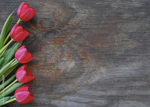 Spoed canvasdoek 2cm dik Tulp pretty tulips on an old wood background