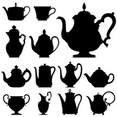 Tea and coffee pots - vector silhouette set