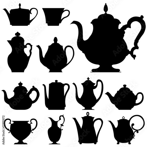 Tea and coffee pots - vector silhouette set - 12995872