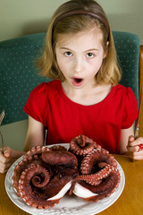 Young girl eating Octopus dinner