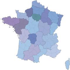 Carte des régions et départements en métropole