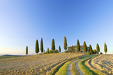 a typical Tuscan landscape in Italy with a Tuscan villa poster