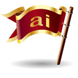 ai file extension icon on royal vector flag button poster