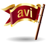 avi file extension on royal vector flag button poster