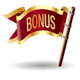 Bonus icon on vector flag button poster