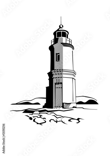 black-and-white image of lighthouse