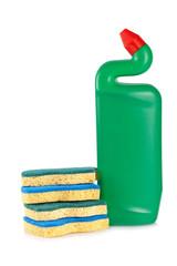 Detergent bottle and sponges