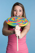 Girl Eating Large Lollipop