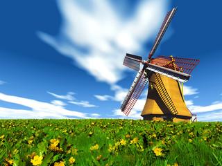 moulin à vent dans le pré