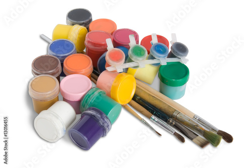 paint buckets with brushes isolated