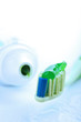 toothbrush with green toothpaste. dental care