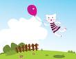 roleta: Flying kitten. Vector illustration.