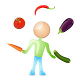 humanoid juggling with vegetables poster