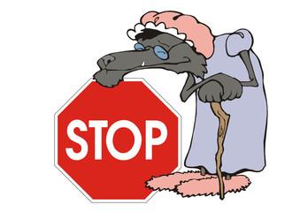 Stop - Wölfe auf der Fahrbahn