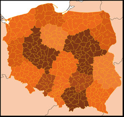 detailed vector map of poland with all departaments