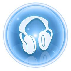headphones icon ice, isolated on white background.