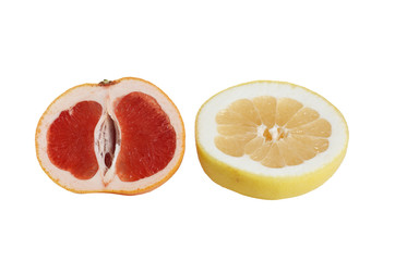 Pieces of tasty citrus on a white.