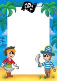 Frame with pirate boy and girl-