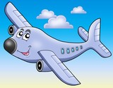 Cartoon airplane on blue sky-