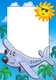 Frame with Sun and airplane-