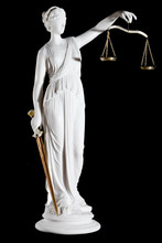 Classic white marble statue of Themis with sword and scales