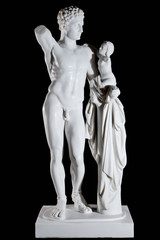 Classic white marble statue Hermes and the Infant Dionysus