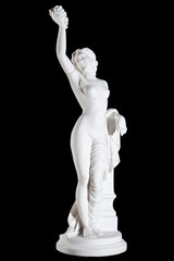 Classic white marble statue of Maenad isolated on black