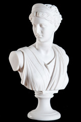 Classic white marble bust of Athena isolated on black
