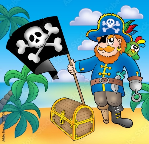 Staande foto Piraten Pirate with flag on beach