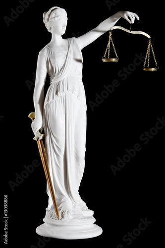 Classic white marble statue of Themis with sword and scales - 13038886