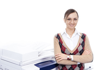 young business woman standing near copier over white