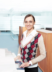 happy business woman in modern office environment
