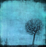 grunge image of a tree on a vintage paper