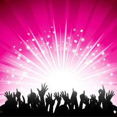 pink starburst and crowd