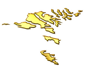 Faroe Islands 3d Golden Map
