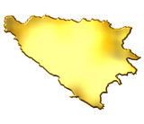 Bosnia and Herzegovina 3d Golden Map poster